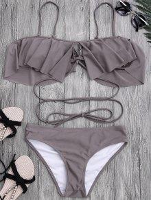 Lacing Ruffle Off The Shoulder Bikini Set - Taupe