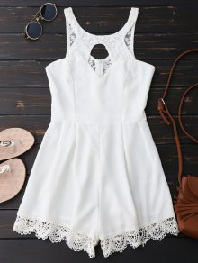 Lace Panel Scalloped Cut Out Romper