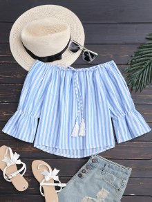 Tie Front Off Shoulder Striped Top - Blue Stripe S