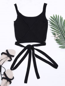 Knit Wrap Crop Tank Top - Black