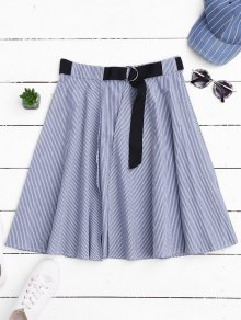 Belted Wrap Layered A-Line Skirt - Stripe S