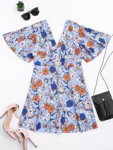Kimono Sleeve Empire Wasit Floral Mini Dress - Floral L