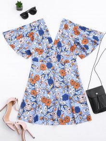 Kimono Sleeve Empire Wasit Floral Mini Dress
