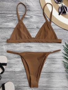 Spaghetti Straps Plunge String Bikini Set