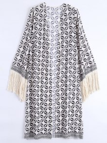Open Front Fringed Bohemian Beach Cover Up - Off-white