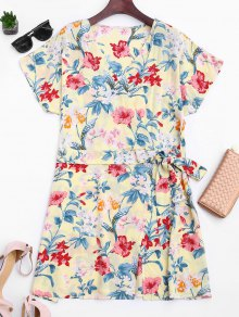 Side Tied Floral Surplice Mini Dress - Floral