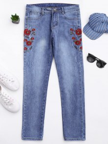 Ripped Floral Embroidered Tapered Jeans - Denim Blue