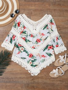 Floral Crochet Panel Beach Cover Up Top