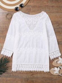 Embroidered Beach Cover Up Dress With Sleeves