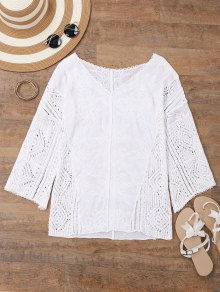 V Neck Embroidered Crochet Beach Cover Up - White