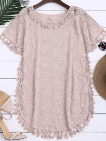 Sheer Lace Top With Tassel - Light Pink L
