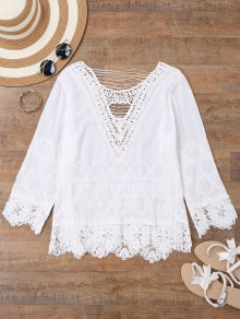 Embroidered Crochet Beach Cover Up Top