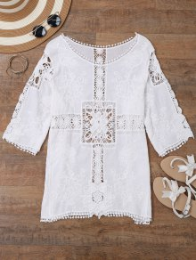 Sheer Crochet Panel Beach Cover Up Top
