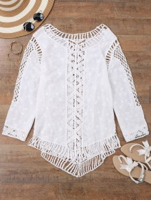 Voir-Thru Crochet Panel Beach Cover Up Top