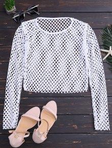 Sheer Net Crop Top - White S