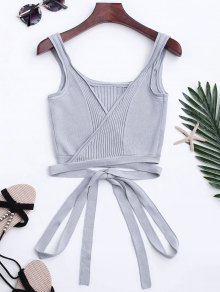Knitted Wrap Crop Tank Top - Gray