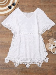 Open Side Beach Kaftan Cover Up Dress - White