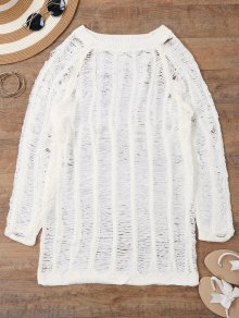 Long Sleeves Sheer Beach Cover Up Dress - White S