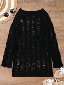 Long Sleeves Sheer Beach Cover Up Dress