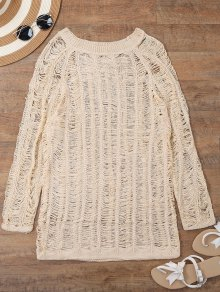 Long Sleeves Sheer Beach Cover Up Dress - Beige M
