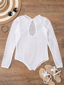 Long Sleeves Sheer Fishnet Swimsuit Cover Up - White M