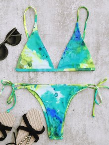 Tie Dye String Bikini Top and Bottoms