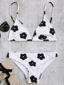 Low Waisted Floral Print Bikini Set - White M