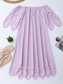 Off The Shoulder Flared Dress - Light Purple L