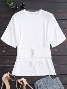 Short Sleeve T-Shirt With Lace Up Corset
