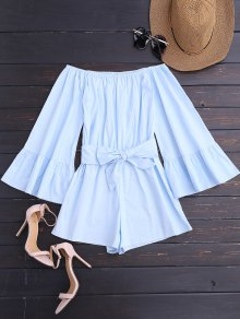 Off Shoulder Flare Sleeve Romper With Belt - Light Blue