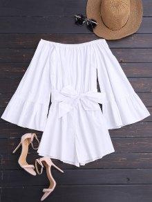 Off Shoulder Flare Sleeve Romper With Belt