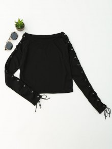 Split Sleeve Lace Up Knit Crop Top