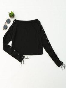 Split Sleeve Ata Para Arriba La Parte Superior De La Cosecha Del Knit - Negro