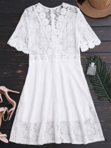 Sheer Plunge Neck Lace Dress - White