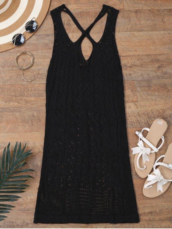Robe de survêtement arrière en tricot ouvert - Noir XL