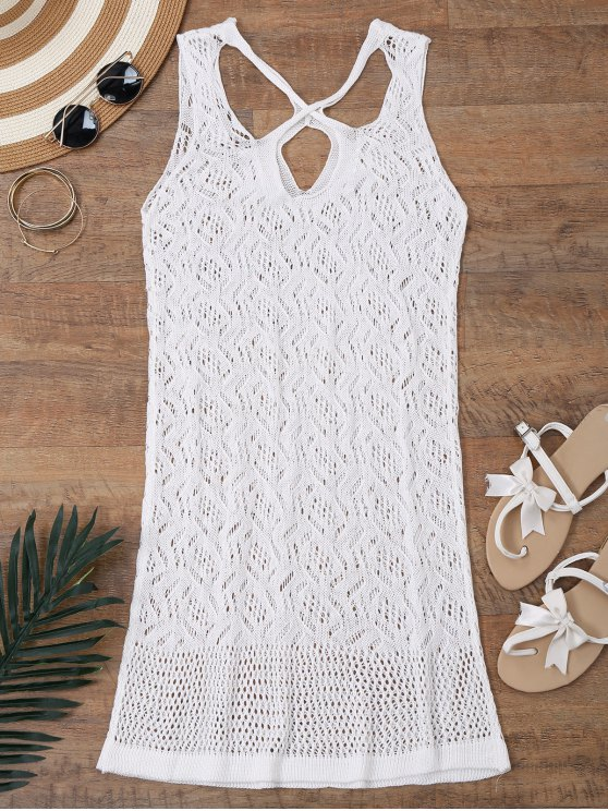 hot Open Knit Cross Back Cover Up Dress - WHITE S