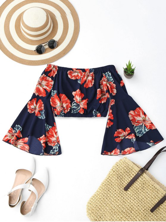 womens Off Shoulder Floral Flare Sleeve Crop Top - COLORMIX S