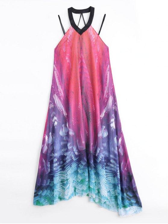 Backless sans manches imprimé ample Maxi Dress - Multicolore M