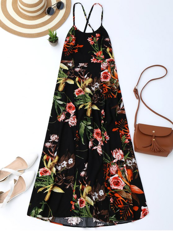 trendy Bohemian Floral Open Back Slit Dress - BLACK L