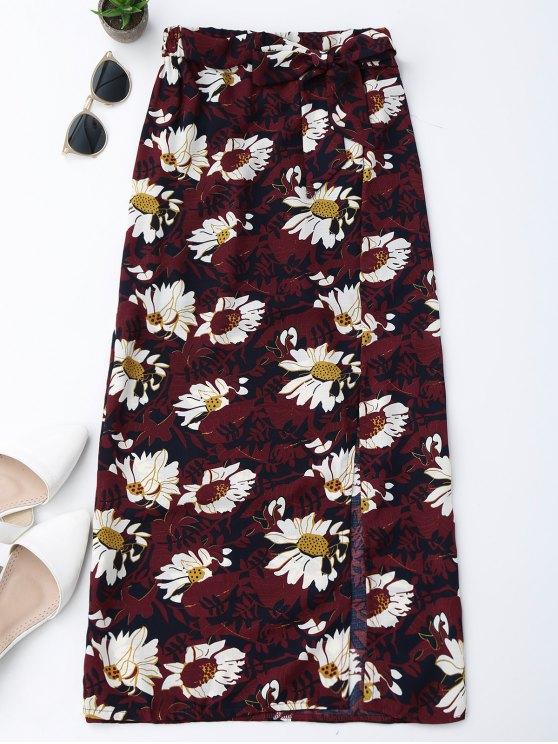 Falda con flecos laterales florales - Vino Rojo M