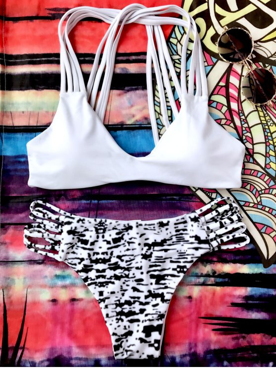 outfit Sprinkle Print Strappy Bralette Bikini Set - WHITE AND BLACK S