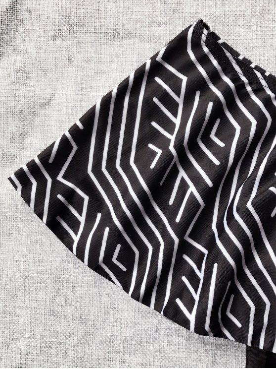 Ruffles Off Shoulder One Piece Swimsuit - BLACK XL Mobile