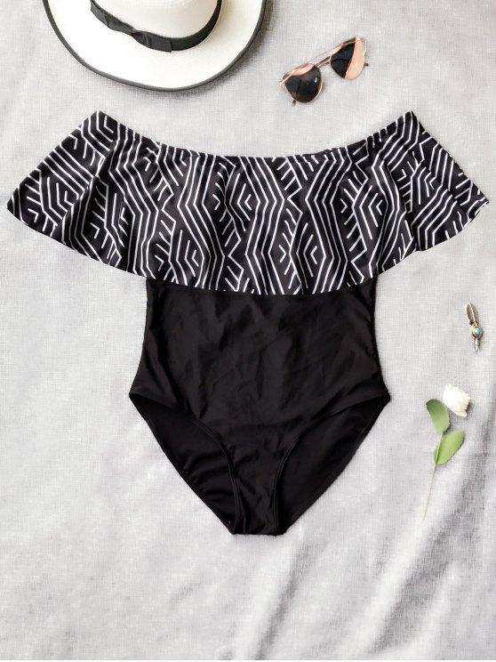 Ruffles fuera de hombro traje de baño de una pieza - Negro XL