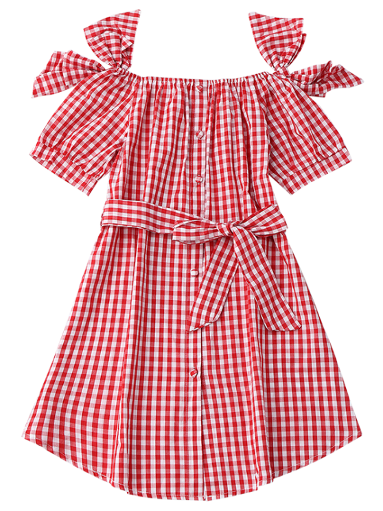 Off Shoulder Bowknot Plaid Dress With Belt - RED S Mobile
