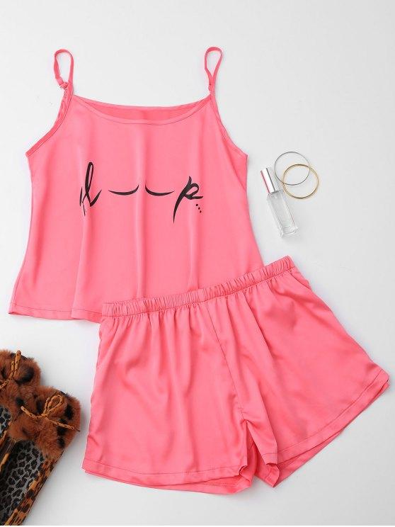 Cute Satin Impreso Cami Loungewear Traje - Rosa S