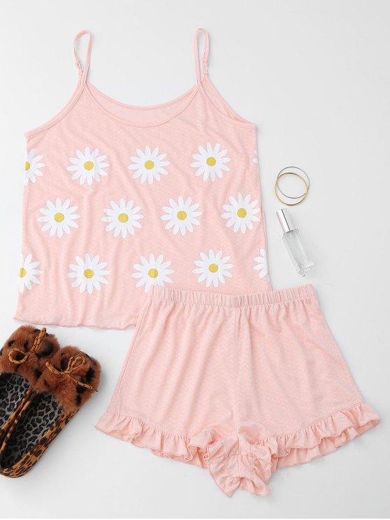 Cute Sun Flower Cami rizado Loungewear traje - Rosado Claro S