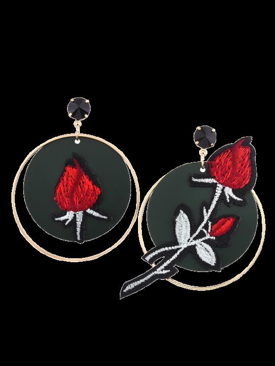 Boucles d'oreilles à la broderie Rose Flower Circle - Rouge