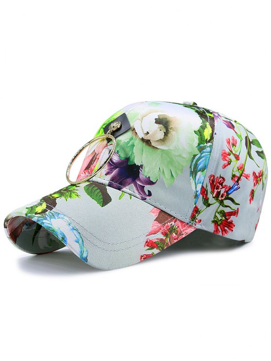 chic Wash Painting Flowers Printed Metal Circle Hat - BLUE GREEN