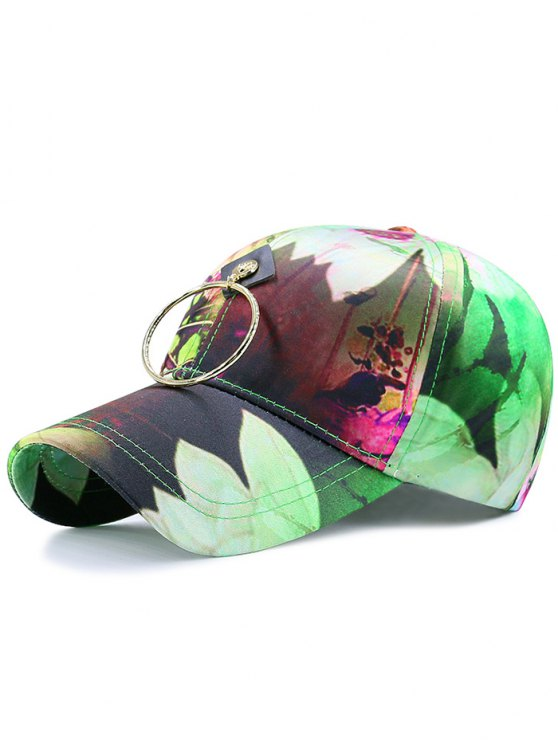 Metal Circle Digital Inkjet Floral Béisbol Hat - Verde