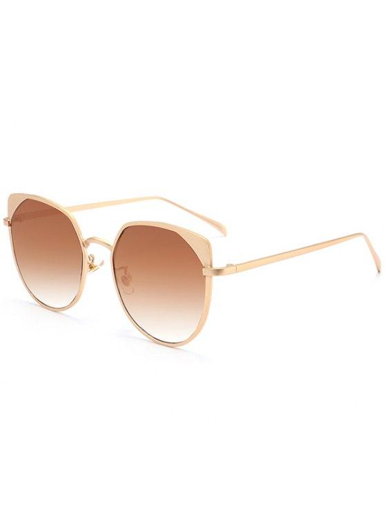 Metal Eye Eye Protection UV Lunettes de soleil - Or Cadre + Objectifs Brun Foncé